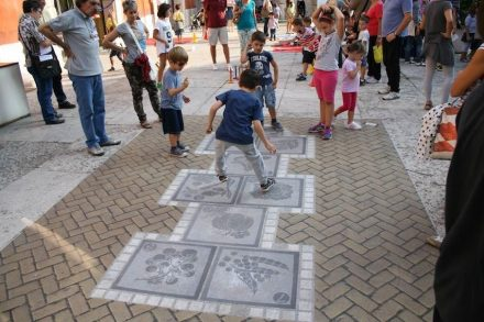 "New ideas for street pavement: Italian <a href=""http://ludendo.it/""target=""_blank"">Animum Ludendo Coles</a> Company made a stone hopscotch for children; ..."