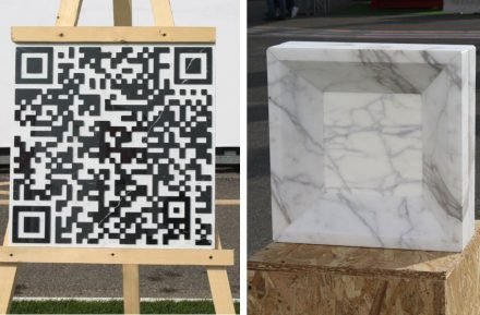 "University of Rome La Sapienza: ""Talkin Stone, by QRcode"" (left), ""Marble Glass Block, Pietracemento""."