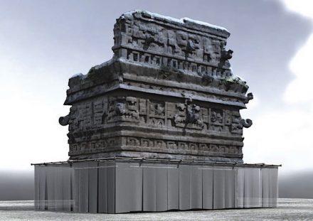 Rekonstruktion der Iglesia von Chichén Itzá mit Verhüllung. Rendering: Alejandro Campoverde