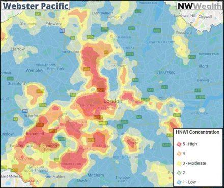 Die Verteilung der Reichen in London nach Stadtviertel (HNWI  = Personen mit einem Nettovermögen von über 1 Million US-$.