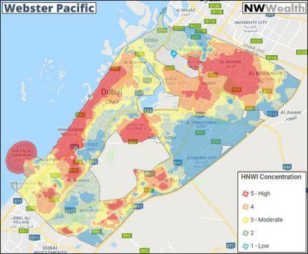 Die Verteilung der Reichen in Dubai nach Stadtviertel (HNWI  = Personen mit einem Nettovermögen von über 1 Million US-$.