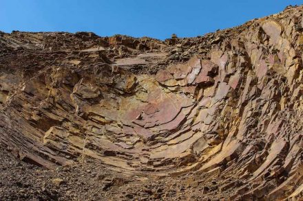 Andesit im Steinbruch Juchem, Niederwörresbach, Rheinland-Pfalz. Foto: Roger Lang, Landesamt für Geologie und Bergbau Rheinland-Pfalz