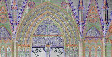 Ausschnitt des Südportals am Querhaus des Notre Dame als CAD-Umzeichnung.