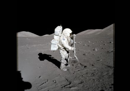 Apollo 17 astronaut and geologist Harrison Schmitt in 1972 collecting samples of lunar soil. Photo: Nasa