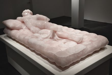 "Barry X Ball: ""Sleeping Hermaphrodite"", translucent Pink Iranian Onyx."