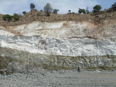 An example of a thick layer of stratiform Anorthosite (white) from the world-known Bushveld Complex in South Africa. Photo: Wits University