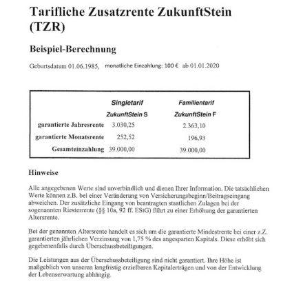 """Beispielrechnungen Zusatzrente """"ZukunftStein""""."""