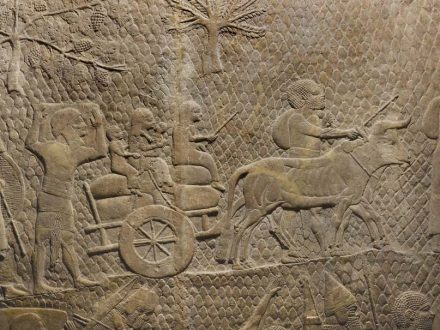 Deportees after the Assyrian siege of Lachish, Judea (701 BC). Detail from a bas-relief in The British Museum.