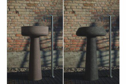 """Agape Outdoor-Kollektion: Waschbecken """"Bjhon 1"""" (links) und """"Bjhon 2"""". Design: Angelo Mangiarotti."""