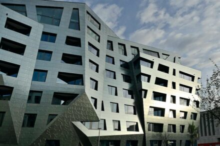 """Sapphire"" is a building by Daniel Libeskind in Berlin with a ventilated façade clad with ""Fractile"" tiles."