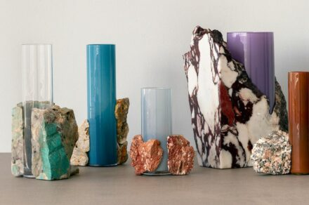 "<a href=""https://www.stone-ideas.com/77012/erik-olovsson-new-vase-collection-drill/""target=""_blank"">Studio EO</a> from Sweden combines blown glass vases with fragments of waste marble to produce these colorful Drill Vases. They are conceived as ""exercises in improvisation"", since some of the pieces of marble already had holes, thereby giving rise to the idea of combining them with pure cylindrical shapes."