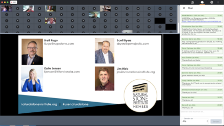 Screenshot from the webinar. On the right is the chatroom, where participants can ask questions. Above, 3rd from left: Jim Hieb as moderator.