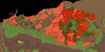 A geologic map of the Pilbara Craton in Western Australia. The rocks exposed here range from 2.5 to 3.5 billion years ago, offering a uniquely well-preserved window into Earth's deep past. The authors of the study spent two field seasons in the Pilbara sampling lavas (shown in green shades) dated to 3.2 billion years ago. For scale, the image is about 500 kilometers across, covering approximately the same area as the state of Pennsylvania.