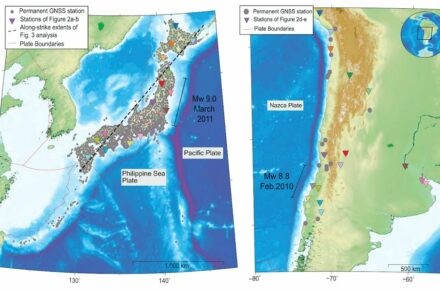 GNSS Stations are densely located in Japan. In Chile they are more sparsely located. In both cases, however, they provided exact data for measuring direction and speed of ground motion. Source: Bedford et al. 2020, Nature