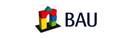 Logo of Bau trade fair in Munich, Germany.