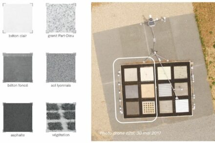 Die Versuchsfläche mit den unterschiedlichen Materialien. (von oben nach unten) links: zweimal Beton, darunter Asphalt; rechts: Granit, Sand, Bepflanzung.