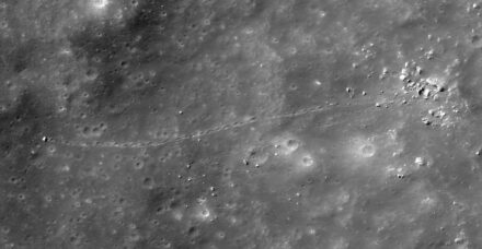 A falling boulder has left a clear trace of 13 m width on the lunar surface. Source: NASA/GSFC/ASU