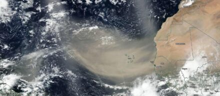 The photo taken by NASA's Suomi NPP satellite on June 18, 2020, shows that the dust from Africa's west coast extended almost to the Lesser Antilles in the western North Atlantic Ocean. Source: NASA Worldview