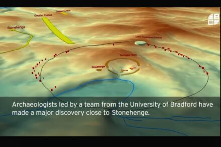 Simulation of the ring of shafts. Center: Durrington Walls, to the left: Woodhenge, far left: Stonehenge. Source: Screenshot