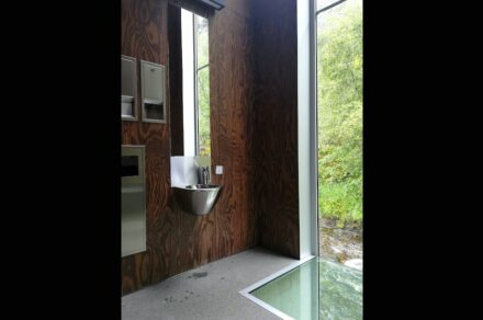 The toilet cottage at Skjervet waterfall in Norway.