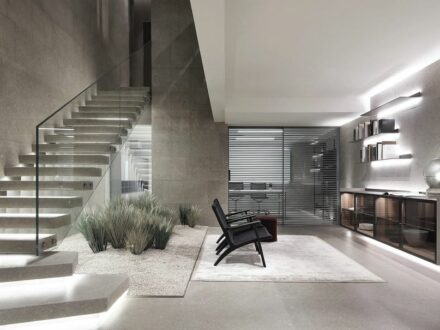 Showroom of the Italian design brand Rimadesio in London, natural stone: Grassi Pietre.