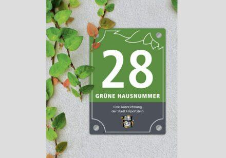 Die Grüne Hausnummer in Hilpoltstein. Grafik: Albert Kraus, Mediendesign, Hilpoltstein.