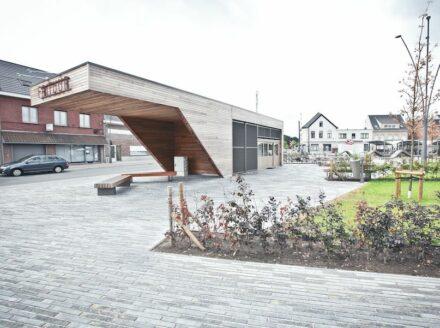 Arcadis, Carrières du Hainaut: Station forecourt in Berlaar, Belgium.