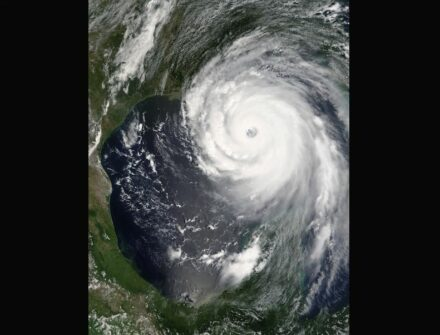 """Hurrican Katrina on August 28, 2005 in the Gulf of Mexico. Photo: Jeff Schmaltz, MODIS Rapid Response Team, NASA/GSFC / <a href=""""https://commons.wikimedia.org/""""target=""""_blank"""">Wikimedia Commons</a>"""