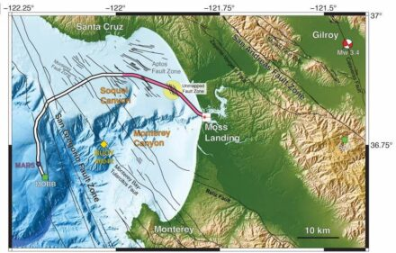 Under Monterey Bay, researchers from UC Berkeley employed 20 km (pink) of a 51-km undersea fiber-optic cable as seismic array to study the fault zones. They detected a magnitude 3.5 earthquake 45 km away in Gilroy, and mapped previously uncharted fault zones (yellow circle). Source: Nate Lindsey, UC Berkeley