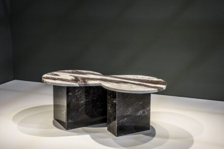 "Claudia Prado: coffee table ""Infinito"". Company: Granipex."