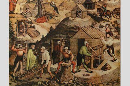 """""""Berggeschrey"""" nannte man den Silberboom in der Gegend um Freiberg. Der Annaberger Bergalter von 1522 zeigt Szenen aus der Gewinnung und Verarbeitung des Edelmetalls (Ausschnitt). Foto: Hans Hesse / <a href=""""https://commons.wikimedia.org/""""target=""""_blank"""">Wikimedia Commons</a>"""