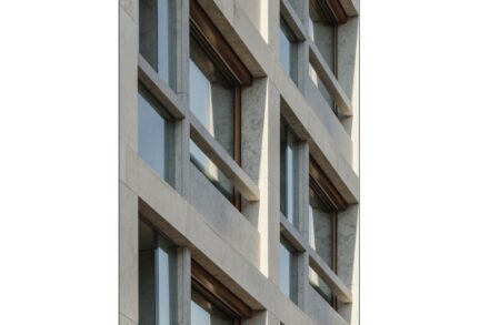 "Winner DNP 2020 and winner category ""Residential and apartment buildings"": Schwabinger Carré II, Munich; Architects: Meili, Peter Architects, Munich; Used natural stone: Shell Limestone Grigio Alpi."