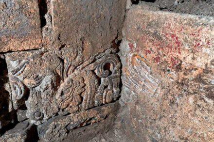 Decorated wall stones from Aztecan times Photo: INAH