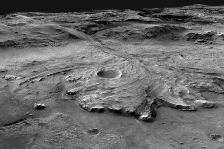 Der Jezero Krater mit einem Durchmesser von etwa 1 km. Quelle: NASA/MSSS/USGS