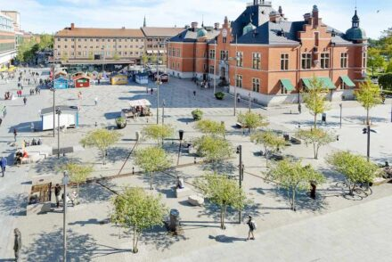 The town hall square in Umeå, Sweden.