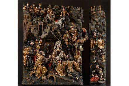 Anbetung der Heiligen Drei Könige (mit ergänzten Fragmenten), Werkstatt des Meisters Arnt von Kalkar und Zwolle, 1480–1490, Museum Schnütgen. Foto: Rheinisches Bildarchiv, Köln, M. Mennicken