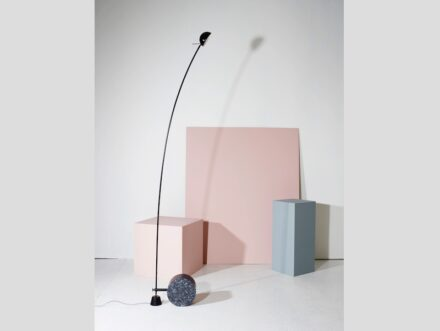 "Lundhs 2016 at the Fuorisalone in Milan: ""Aerial"" was the name designers Bjørn van den Berg & Falke Svatum gave their lamp with a base in Lundhs Blue."