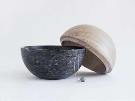 """Sfera"" is an object by Kristine Bjaadal, half in Lundhs Blue and half in ash wood."