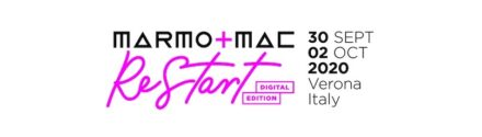 "Logo der digitalen ""Marmomac Restart""."