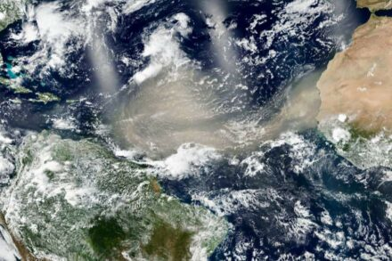 A huge dust cloud spans the tropical North Atlantic on 20 June 2020. Over the following week, the plume affected northern South America, the Caribbean Basin, and the southern United States. A second dust outbreak can be seen in this image emerging from the west coast of North Africa. Source: NASA Worldview