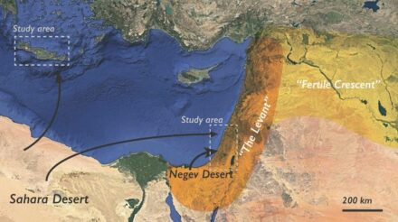 Map showing the Levant region, which is the western part of the overall Fertile Crescent region; the study areas in Israel and Crete are in dashed gray boxes. Fine-grained dust is transported by wind from the Sahara to the Levant, and coarser dust (loess) is transported the shorter distance from the Negev Desert to the Galilean Mountains in Israel. Source: Rivka Amit et al. and Geology