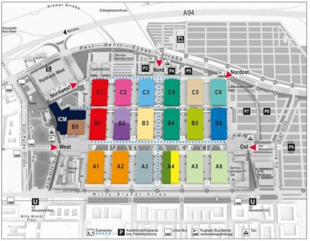 Floor plan of the 2019 BAU. Left: the International Congress Center Munich (ICM).