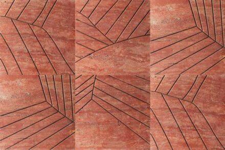 "Kreoo: ""Folium"". Design: Sebastiano Zilio. Travertin Rosso Persiano."