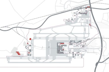 The new airport BER. Top right: the old Berlin-Schönefeld Airport (SXF), which will be the future Terminal 5. Graphic: Flughafen Berlin Brandenburg GmbH
