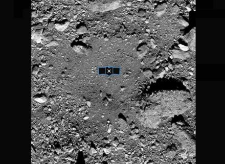 Asteroid Bennu's surface with the primary site for sample collection. Source: NASA/Goddard/University of Arizona