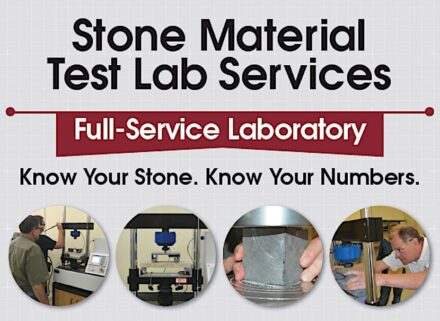 Poster informing about the Natural Stone Institute's testing lab.