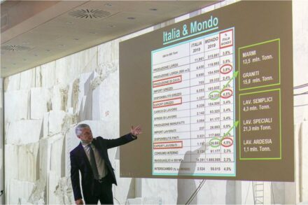 Flavio Marabelli giving an insight on the export statistics of Italy's stone sector.