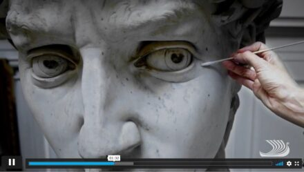 Screenshot from the video about the restoration of David.