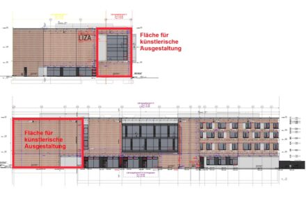 The location for the planned art-in-architecture at the façade of the new RGZM headquarter. Source: RGZM
