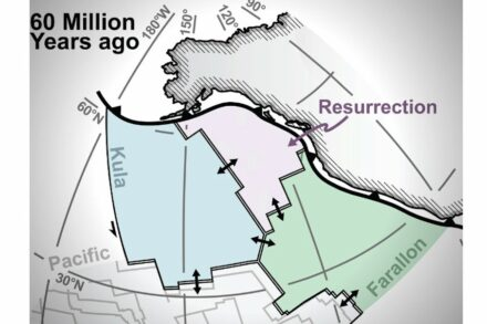 The image shows plate tectonic reconstruction of western North America 60 million years ago showing subduction of three key tectonic plates, Kula, Farallon and Resurrection. Source: University of Houston